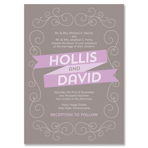 Banner Wedding Invitation in Dove and Lilac | by The Green Kangaroo, Inc.