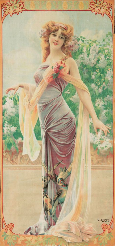 Original Vintage Poster Gaspar Camps Lilac Decorative Art Nouveau Flower Panel
