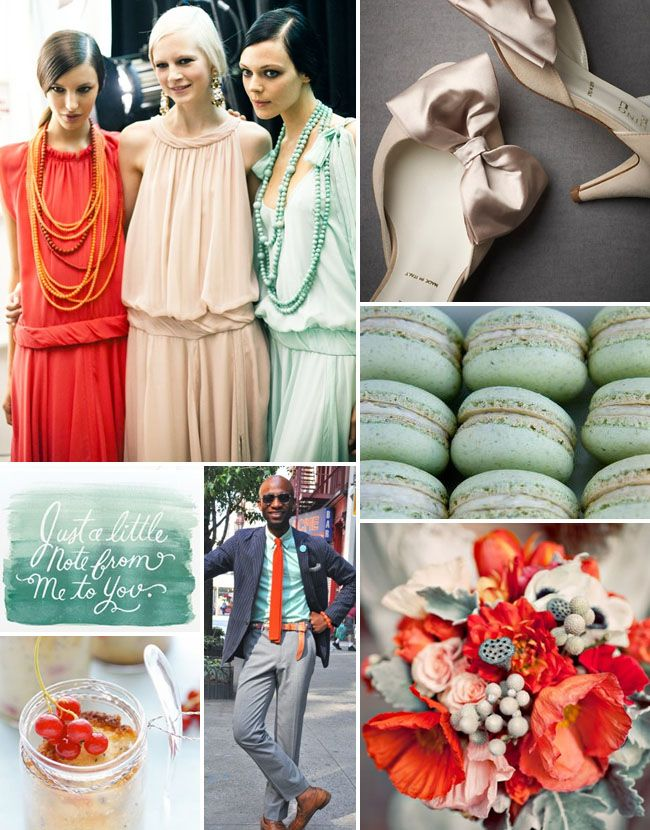 mint green, blush, and poppy red. what could be better?