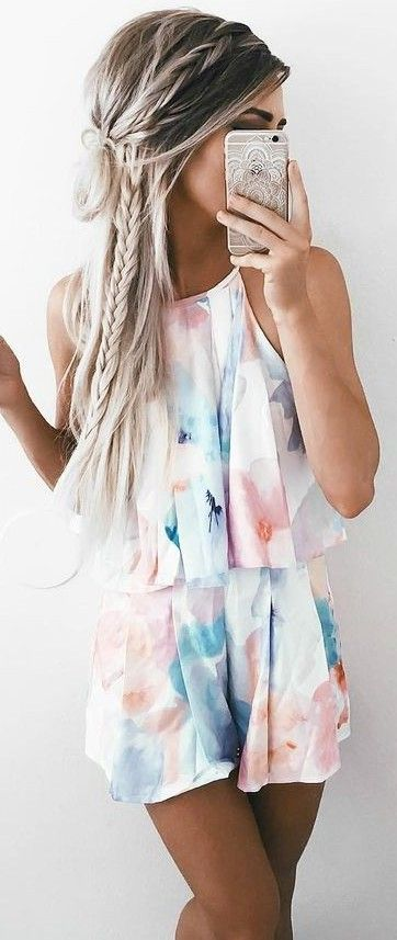 #summer #girly #outfits | Watercolor Playsuit