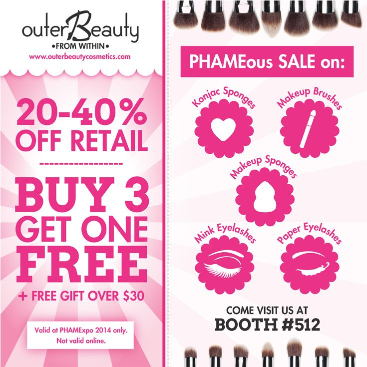 #PhamExpo Only: Get 20-40% off our retail prices, plus buy 3 products in any one category and get the 4th one free. To sweeten the deal even more, all purchases over $30 receive a free gift. You have to check it out! #phamexpo2014 #makeupshow #tradeshow #beauty #makeup #cosmetics #makeuptalk #makeupchat #makeupjunkie #love #ilovemakeup #makeupaddict #shopping #promakeupartist #promua #mua #MAKEUPARTIST #beautybloggers #bbloggers #losangeles #outerbeautycosmetics #outerbeautyinc