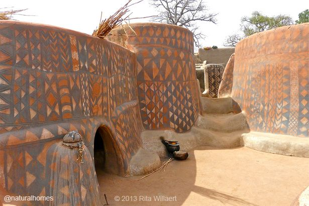 These are the earthen homes of the Gurunsi in Burkina Faso. The men build them and the women decorate the facades with waterproof clay plasters in patterns, all of which have a symbolic meaning. More, including video, at www.naturalhomes.org/naturalliving/shea-butter.htm