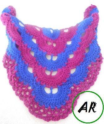 Rękodzieło AR: Różowo-chabrowa chusta na szydełku + schemat