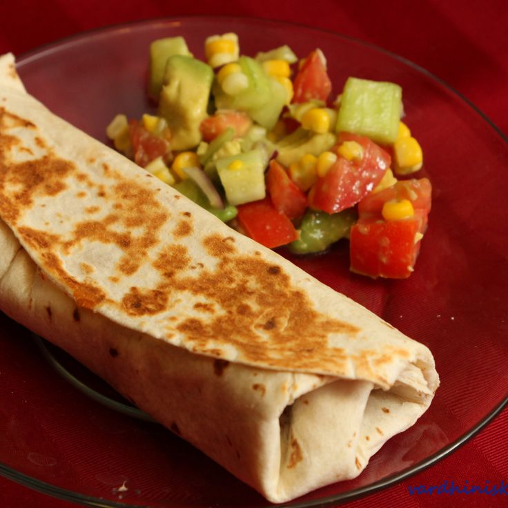 Black Bean Burrito and Simple Avocado Salad on http://cooksjoy.com ...