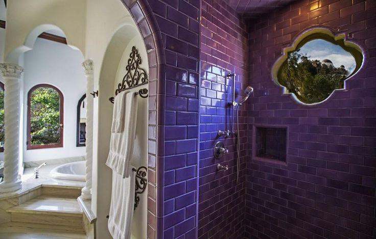 Purple Tile Bathroom- Photos: Sia's theatrical stunner in Los Angeles