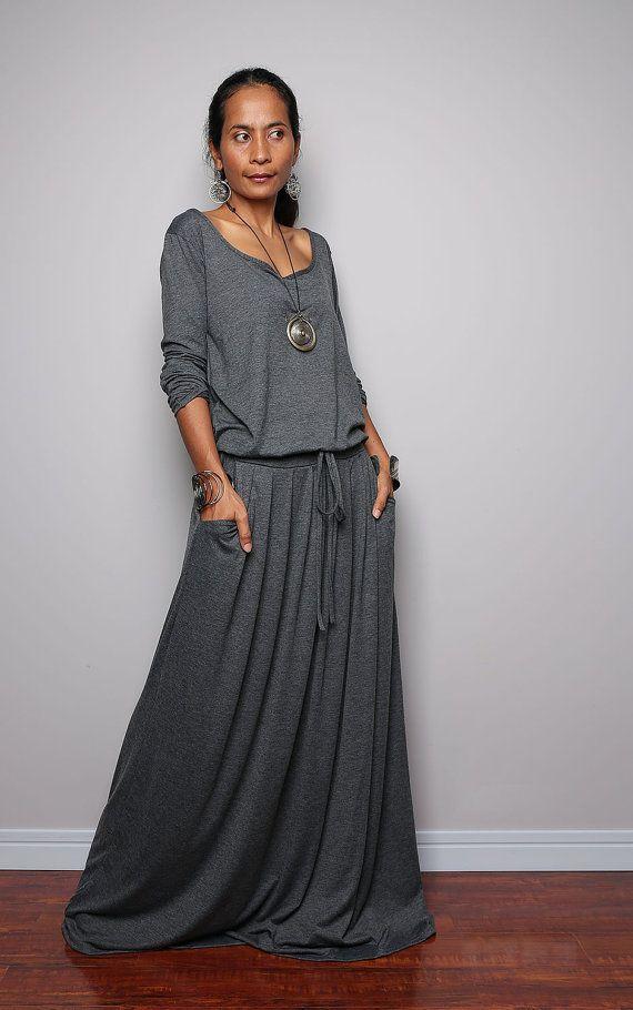 Maxi Dress Long Sleeve Navy Grey dress Autumn by Nuichan