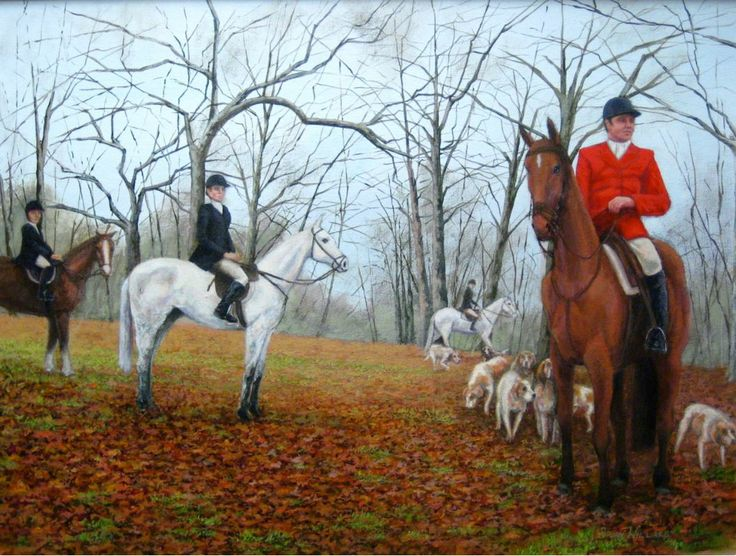 Gathering The Hounds: Acrylic on Canvas by #Chicago #artist Brian Willard. #fineart #painting http://internationalartnetwork.com/products/GatheringtheHounds.html
