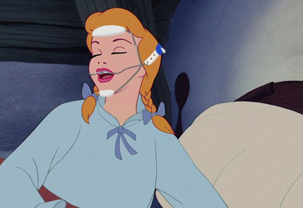 And Cinderella waking up super cute in her head gear. | Disney Princesses With Braces Are Actually Really Cute