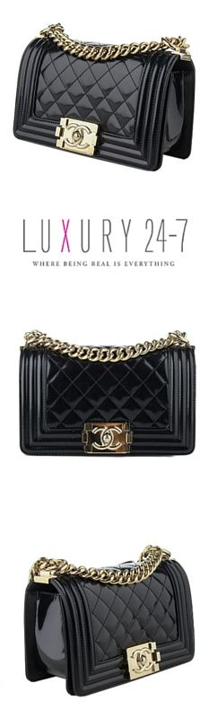 $3,695.00  Chanel Black Patent Small Boy Flap Bag.   Luxury 24-7 is a premier destination to buy, sell, and trade, high end pre-owned handbags and accessories. www.luxury24-7.com
