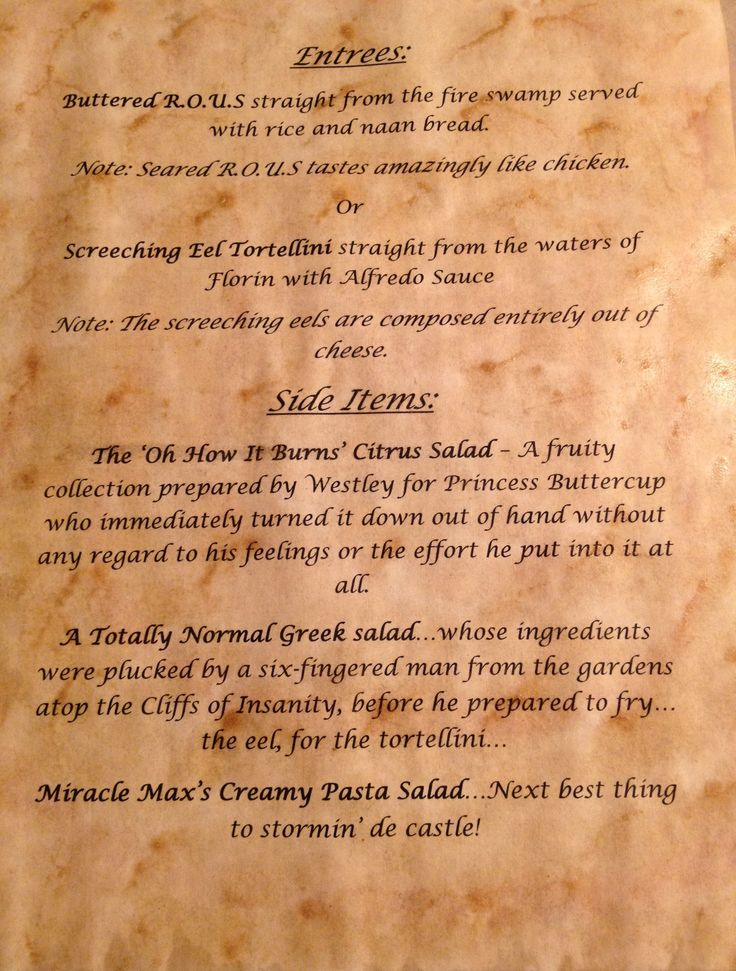 The Menu (Another nod to The Princess Bride)