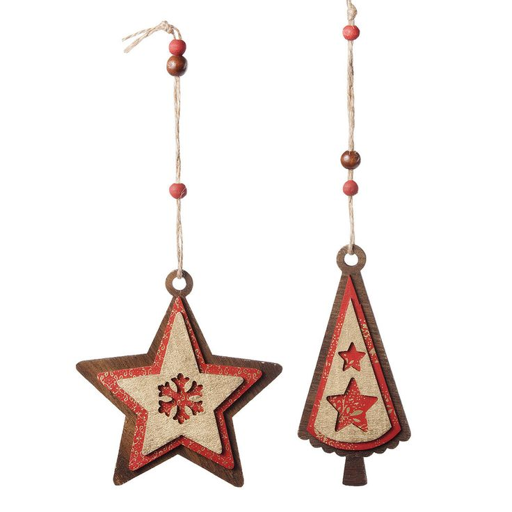 Wooden Christmas Tree Decorations Red & Gold Layered Star and Tree Set x 2 #TheChristmasBoutique
