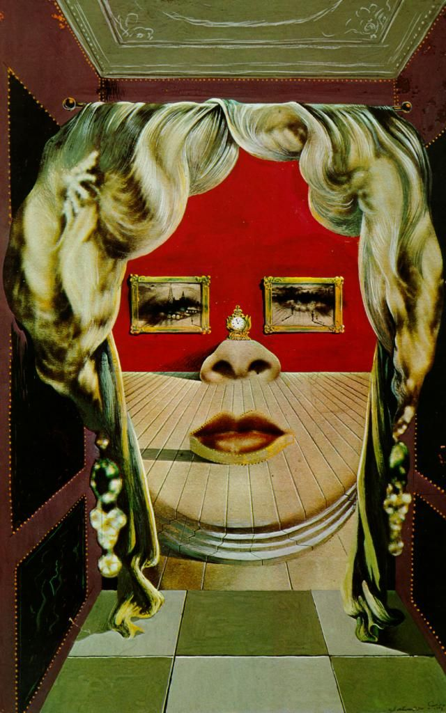 Dali (ca 1935) Face of Mae West Which May Be Used as an Apartment, gouache on newspaper, 31 x 17 cm, The Art Institute of Chicago, Chicago