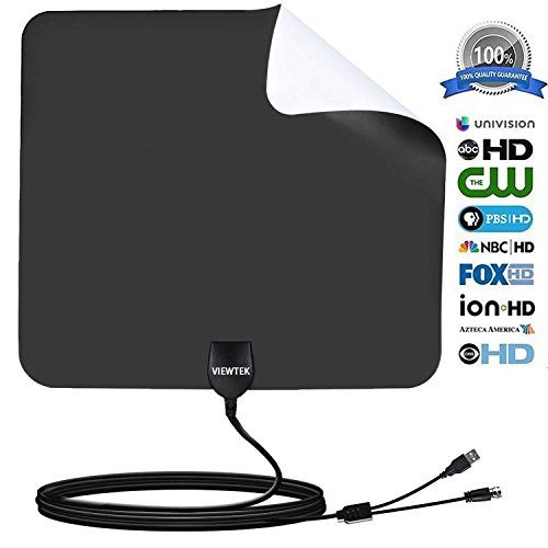 HDTV Antenna- VIEWTEK Amplified Digital Indoor TV Antennas 50 Mile Range with Amplifier, 13 Ft Copper Coaxial Cable and USB Power Supply(Black and white on both sides) #HDTV #Antenna #VIEWTEK #Amplified #Digital #Indoor #Antennas #Mile #Range #with #Amplifier, #Copper #Coaxial #Cable #Power #Supply(Black #white #both #sides)