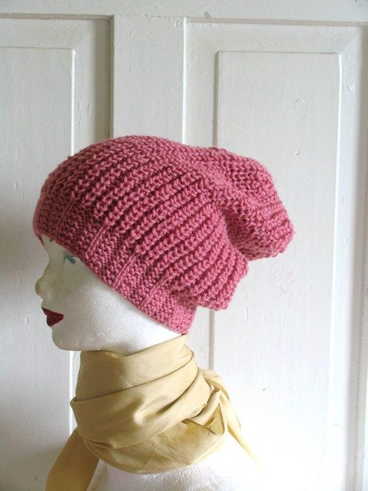 Dusty Pink  Beanie Large Beanie Oversized Beanie by recyclingroom, $29.00
