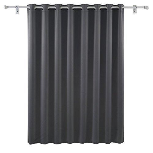 Deconovo Wide Width Grommet Thermal Insulated Blackout One Panel Window  Curtain, 100 By 95 Inch, Light Grey