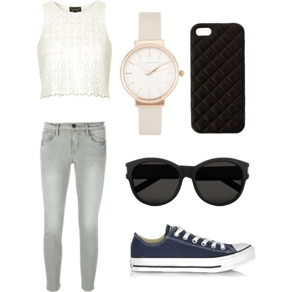 Geen titel #5 by ninavanoss on Polyvore featuring polyvore, mode, style, Topshop, Frame Denim, Converse, Olivia Burton, The Case Factory and Yves Saint Laurent