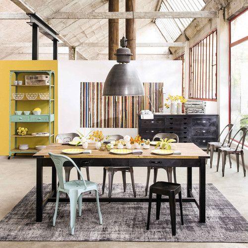 Table de salle à manger en manguier et métal L 200 cm