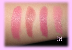 Left to Right: Pink Blush (Rimmel), Airy Fairy (Rimmel), Summer in Hampton (NYX), Strawberry Milk (NYX)