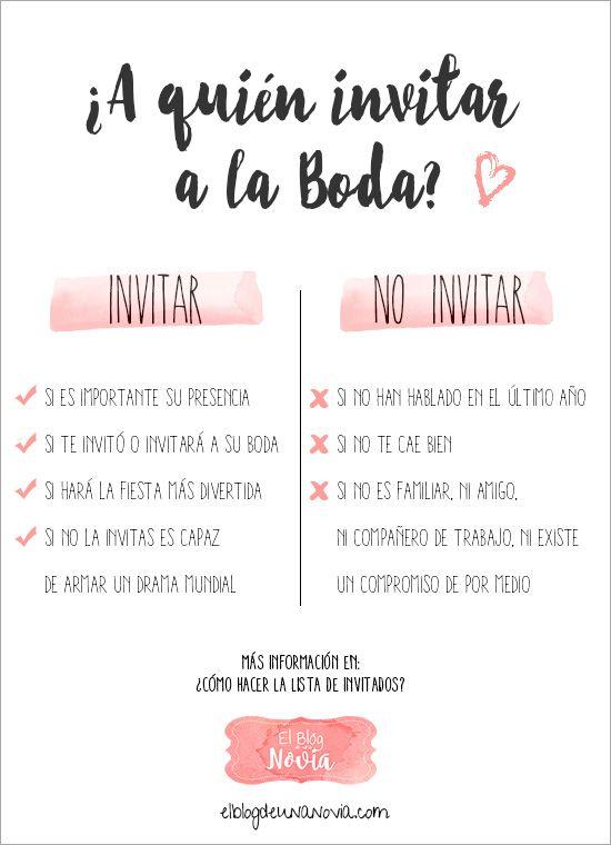 ¿A quién invitar a la boda? | ¿Cómo hacer la lista de invitados? | El Blog de una Novia | #boda #invitados