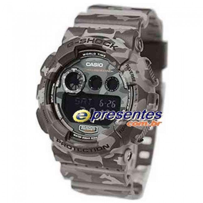 GD-120CM-8DR Relogio Casio G-Shock Camuflado Estilo Militar Cinza