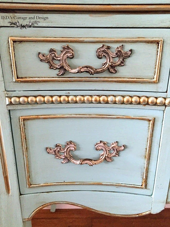 D.D.'s Cottage and Design: French Vanity custom Frenchy Aqua color by mixing 1part Jaded Rooster (The Urban Rooster) and mixing 4 parts white, sealed with dark wax/hemp oil.