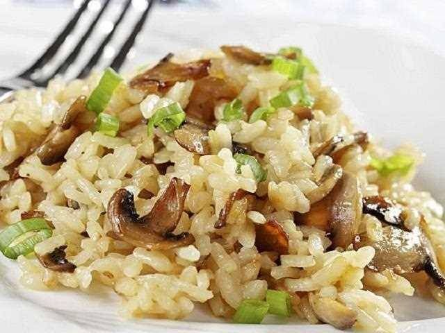Risotto de calabacín y setas. Una variante del risotto italiano, esta vez con verduras.  Su sabor suave y meloso resulta muy agradable al paladar.
