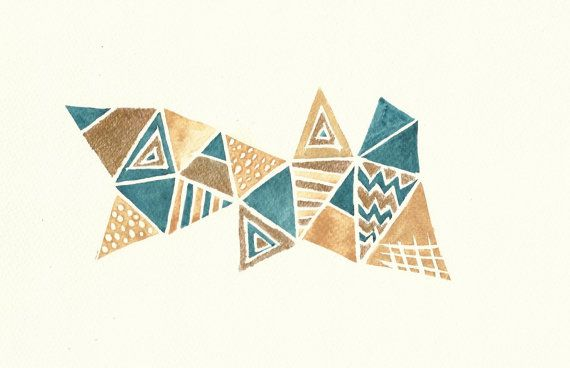 Home decor painting ideas - Teal Blue Camel And Gold Abstract Geometric Pattern Watercolour Pain