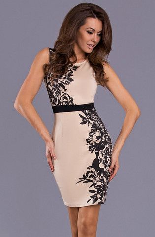 Floral Cream Evening Dress