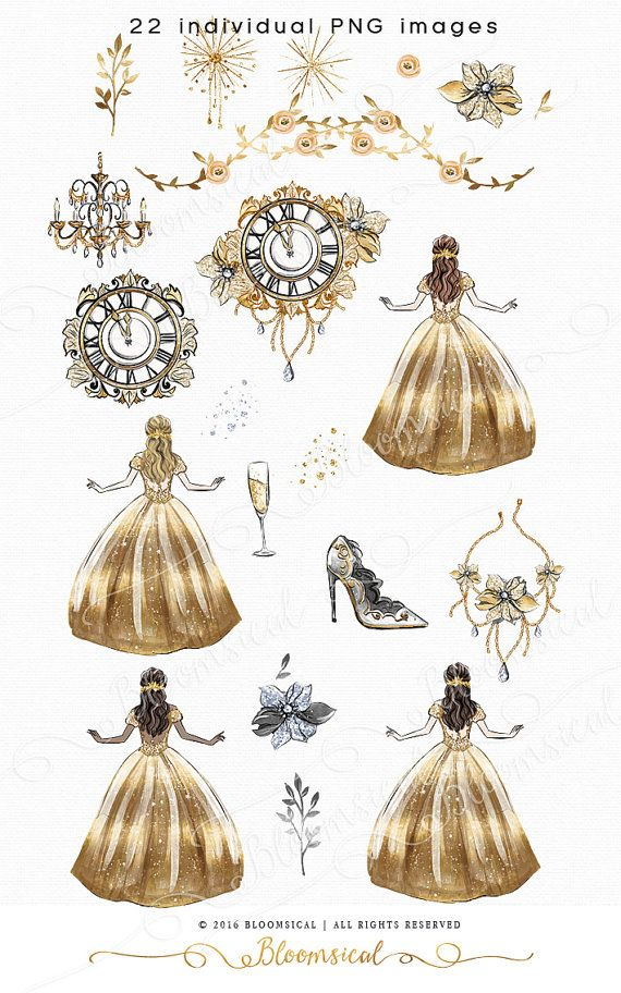 A glam fairy tale fashion graphics collection featuring girl in shimmering gold ball dress, vintage ornamental clock about to strike at midnight, champagne glass, fireworks, couture high heel shoe, crystal encrusted flowers, gold and silver foliage. The girl comes in 4 hair and skin colors. The cliparts are hand drawn and painted by me. You will receive 22 individual graphics to create your own design arrangement and layout. The clip art set is perfect for planner stickers, planner…