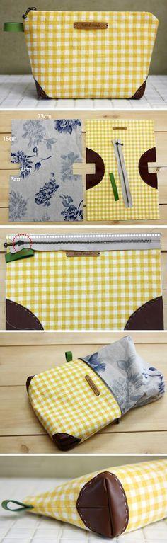 DIY Une pochette à maquillage. (Easy Zippered Cosmetics Bag Pattern + DIY Tutorial in Pictures) (http://www.handmadiya.com/2015/11/zippered-handbag-cosmetic-bag-tutorial.html)