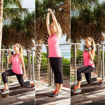 Get your heart pumping with this moves that improves coordination and strengthens the muscles in your legs, butt, core, arms, and shoulders.