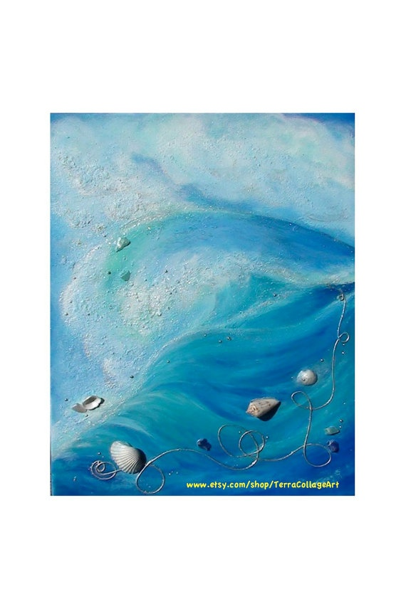RESERVED Ocean Wave Original Mixed Media Art by TerraCollageArt, $70.00