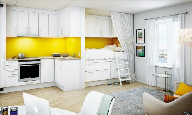 living small, kitchen and alcove, storage. The bed nook that is over storage and under more storage with a privacy curtain ROCKS!