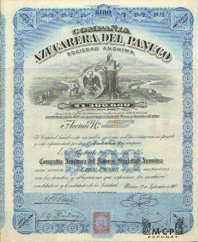 Muzeum cennych papiru E4094 Compaňia Azucarera del Panuco Sociedad Anonima 100 Pesos, México 27.09.1900 / AZP3MEX002