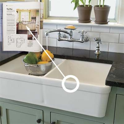 Photo: J. Curtis | thisoldhouse.com | from Modern Function, Vintage Flair; apron front sink, subway tiles, wall faucet
