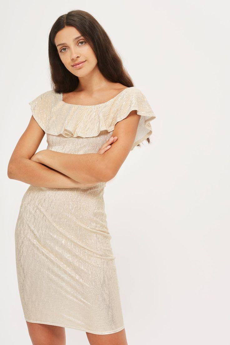 **Crinkle Bardot Frill Mini Dress by Rare - Clothing- Topshop Europe