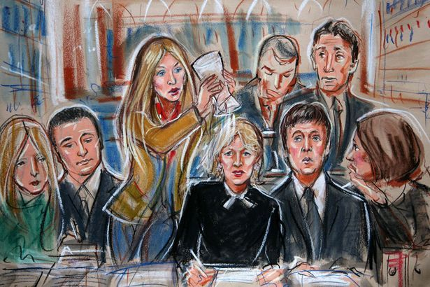 http://www.mirror.co.uk/news/uk-news/as-tv-trials-threaten-to-kill-off-courtroom-840903  In my opinion, this is a good example of information graphics because in the description of this cartoon drawing, it says that no one was allowed in the courtroom so this drawing was based on what was heard about the Sir Paul McCartney divorce hearing. This is a good way of showing the public what happened inside.