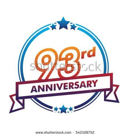 blue circle and star with purple ribbon 93rd anniversary design vector