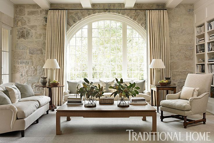Reclaimed Limestone Frames A Beautiful Floor-to-ceiling
