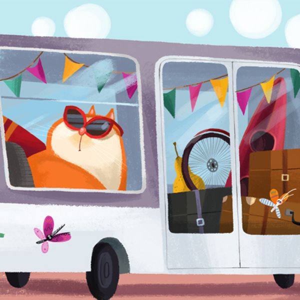 Orange cat in the bus. Butterflies. Summer. Friends Song by Olga Demidova, via Behance