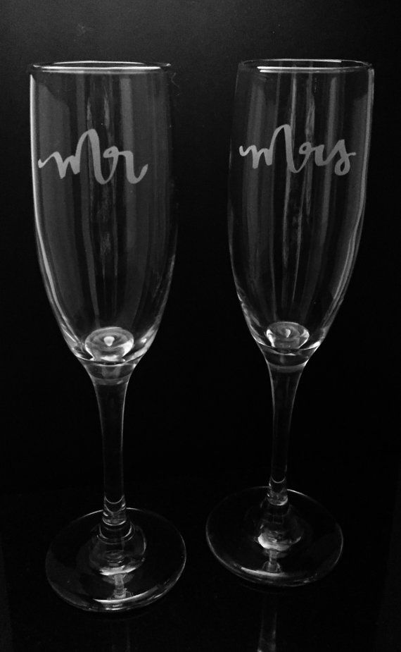 Mr and Mrs etched champagne flutes  by ExpressionsGlassware