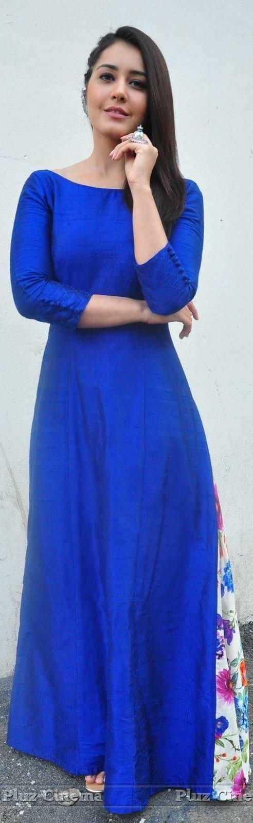 "Raashi khanna in a long blue suit. ""Pinterest: @Littlehub"" ༻♡ღღ ~kurti Inspirations╭✧❤"""