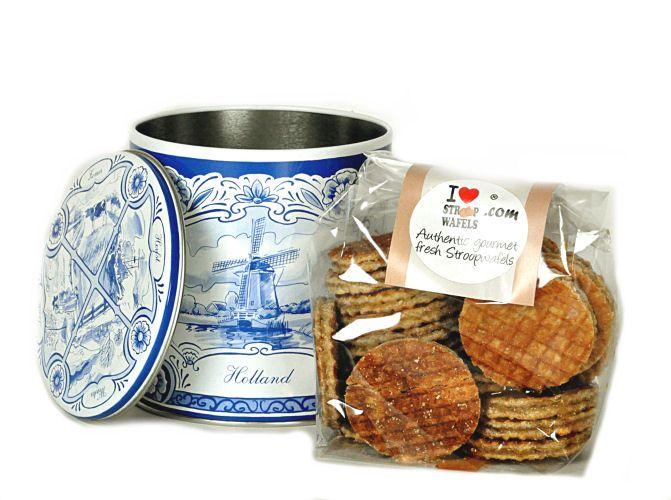 Mini Stroopwafels in Delft Blue Tin