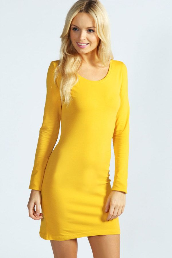 From the clear spring seasonal color palette. Camille Long Sleeve Jersey Bodycon Dress $16