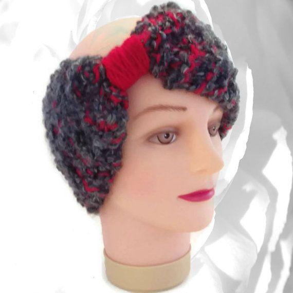 #Red Ear Warmer Red #Headband Gray Ear Warmer by NadiasKnits2 #earwarmer #knitting #winter #accessories
