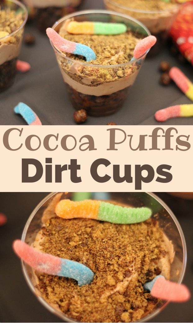 Dia De Los Ninos: Cocoa Puffs Dirt Cups. This is such a fun and easy recipe to make with your kids. Find all the ingredients @Walmart. #HoneyNutCheerios #NuestroCereal