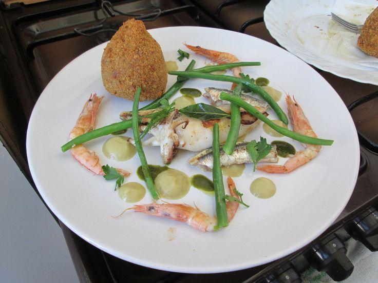 Gino D'Aquino  /  Pesce   grigliato fagiolino crocchetta   di  riso al pesce salsa di   finocchio /   Gino D'Aquino