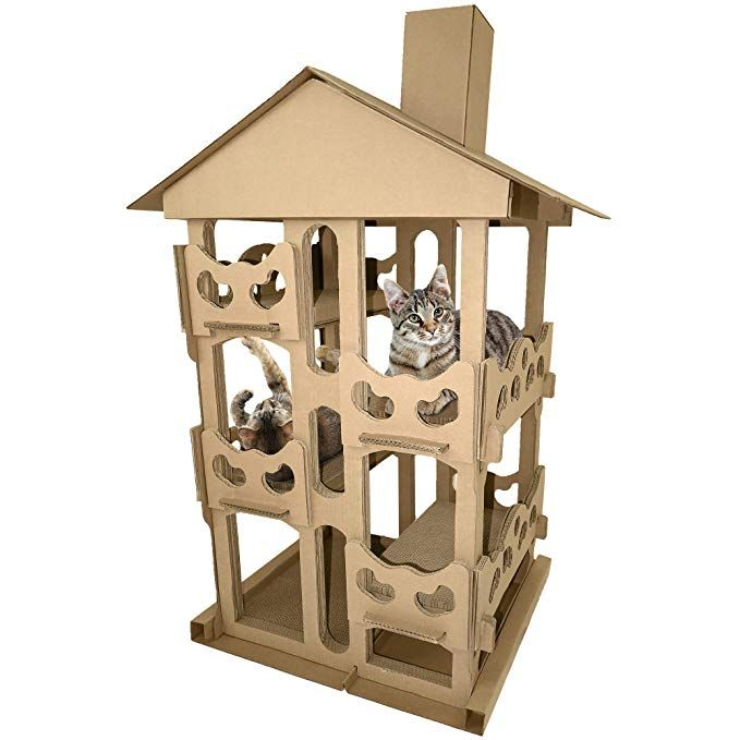 Furhaven Pet Cat Scratcher Tower Playground Corrugated Cat Scratcher House With Catnip Cardboar Cat Condo Cat Scratcher Cardboard Cat Scratcher