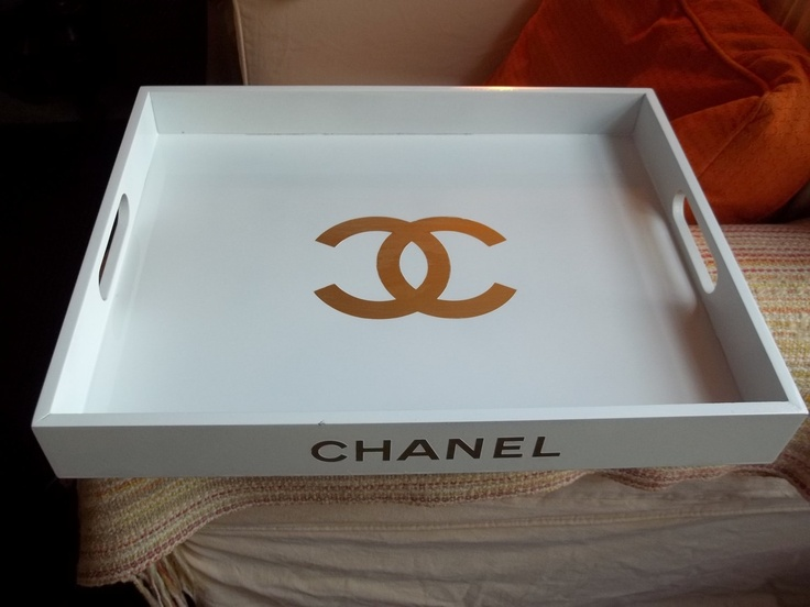 Chic Replica CHANEL Logo Tray White And Gold 14500 Via Etsy Chanel