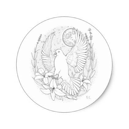 White peace pigeon sitting on a flower classic round sticker - wedding stickers unique design cool sticker gift idea marriage party